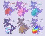 creature english_text gen_3_pokemon grey_background holding kintsugi looking_at_viewer mega_pokemon mega_sableye no_humans opal_(gemstone) pokemon pokemon_(creature) quartz_(gemstone) sableye signature simple_background standing the-vanilluxe-treatment turquoise_(gemstone)