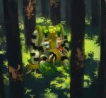 1girl beanie black_hair boots coat commentary_request forest gen_4_pokemon graphite_(medium) hat highres hikari_(pokemon) moss nature pokemon pokemon_(creature) pokemon_(game) pokemon_dppt regigigas satobitorotoku scarf traditional_media