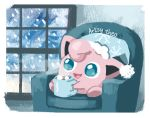 :d armchair artsy-theo chair creature cup full_body gen_1_pokemon happy hat holding holding_cup indoors jigglypuff mug nightcap no_humans open_mouth pokemon pokemon_(creature) sitting smile snowing solo steam window