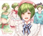 1boy :d a3! animal_hat blue_bow blue_shirt blush bow cat_hat circlet crossdressing dated green_hair happy_birthday hat hat_ornament looking_at_viewer male_focus midriff multiple_views navel open_mouth paw_pose pink_bow rurikawa_yuki shirt smile sparkle striped striped_neckwear syuka_rain upper_body veil yellow_eyes