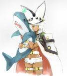 1girl absurdres bana_(stand_flower) cape closed_mouth dark_skin guilty_gear guilty_gear_xrd hat highres ikea_shark long_hair looking_at_viewer ramlethal_valentine short_shorts shorts simple_background solo stuffed_animal stuffed_shark stuffed_toy thigh_strap white_background white_hair yellow_eyes