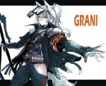 1girl animal_ears arknights character_name gloves grani_(arknights) hair_between_eyes highres holding holding_weapon horse_ears horse_tail jacket long_hair looking_at_viewer mask osakana_(denpa_yun'yun) ponytail simple_background smile solo tail thigh_cutout violet_eyes weapon
