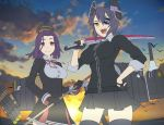 2girls :d clouds cowboy_shot eyepatch gloves hand_on_hip headgear holding holding_sword holding_weapon itou_(onsoku_tassha) kantai_collection long_sleeves looking_at_viewer mechanical_halo multiple_girls ocean one_eye_covered open_mouth over_shoulder purple_hair school_uniform short_hair skirt sky smile standing sword sword_over_shoulder tatsuta_(kantai_collection) tenryuu_(kantai_collection) thigh-highs violet_eyes weapon weapon_over_shoulder yellow_eyes