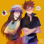 1boy 1girl anger_vein black_shirt blue_(pokemon) blush breasts brown_hair chuwenjie collared_shirt commentary crossed_arms english_commentary eye_contact fanny_pack hat jewelry long_hair looking_at_another ookido_green pendant pokemon pokemon_(game) pokemon_frlg porkpie_hat red_skirt shirt short_sleeves signature simple_background skirt sleeveless sleeveless_shirt small_breasts spoken_anger_vein spoken_food standing tongue tongue_out upper_body yellow_background