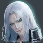 1boy bangs close-up closed_mouth face final_fantasy final_fantasy_vii final_fantasy_vii_remake green_eyes grey_background head_tilt high_collar highres katoyo85 long_hair parted_bangs pink_lips portrait sephiroth silver_hair