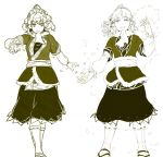 arm_warmers full_body green_theme highres hiyuu_(flying_bear) looking_at_viewer medium_hair mizuhashi_parsee monochrome open_mouth petals pointy_ears revision scarf short_hair skirt smile standing touhou