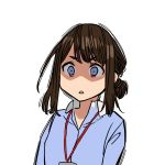 1girl :< blue_eyes blue_shirt brown_hair collared_shirt highres jealous lanyard office_lady_(yomu_(sgt_epper)) original shaded_face shirt sidelocks simple_background sketch solo surprised tied_hair upper_body white_background yomu_(sgt_epper)