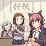 >:) 3girls :> :d ^_^ ahoge aqua_hair ayasaka bang_dream! bangs blazer bow brown_hair cat_ear_headphones chair chu2_(bang_dream!) closed_eyes collared_shirt commentary_request crossed_legs desk grey_jacket hair_bow hands_on_own_knee hands_together hazawa_tsugumi headphones hikawa_hina holding holding_tray indoors jacket long_hair long_sleeves looking_at_viewer miniskirt multiple_girls navy_blue_jacket navy_blue_skirt necktie open_mouth plaid plaid_skirt pleated_skirt red_neckwear redhead shirt short_hair side_braids sitting skirt smile striped striped_neckwear tray v-shaped_eyebrows white_shirt |_|