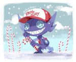 artsy-theo baseball_cap candy candy_cane clouds cloudy_sky creature day fatal_fury food full_body gen_3_pokemon grin hat holding holding_candy_cane looking_at_viewer no_humans outdoors pokemon pokemon_(creature) sableye signature sky smile solo standing