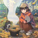 1girl :q animal autumn bangs baseball_cap bf._(sogogiching) brown_hair brown_skirt bush cat cooking crossed_arms eyebrows_visible_through_hair fan fence fish food from_side gloves green_eyes grill grilling ground hat holding holding_fan hood hood_down hoodie leaf long_skirt long_sleeves looking_down orange_hoodie original outdoors paper_fan shichirin shoes short_hair skirt smile smoke sneakers squatting tareme tongue tongue_out tree uchiwa white_footwear wind