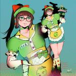 1girl alternate_costume bangs blunt_bangs bow brown_footwear choker drone earrings glasses gloves green_eyes green_headwear green_shirt hair_bow hands_on_hips heco_(mama) honeydew_mei jewelry long_hair mei_(overwatch) overwatch ponytail puffy_short_sleeves puffy_sleeves red_bow round_eyewear shirt shoes short_sleeves sidelocks signature snowball_(overwatch) socks solo visor_cap white_gloves