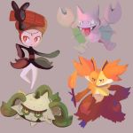 bulbacactus commentary creature delphox english_commentary ferrothorn fire flame full_body gen_2_pokemon gen_5_pokemon gen_6_pokemon gligar grey_background highres holding_stick meloetta meloetta_(pirouette) no_humans pokemon pokemon_(creature) simple_background standing