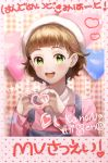 1boy bangs blunt_bangs blush brown_hair character_name green_eyes hair_ornament hairclip heart heart_hands highres himeno_kanon idolmaster idolmaster_side-m male_focus open_mouth overalls pink_shirt plaid plaid_background shirt simple_background smile solo syuka_rain upper_body