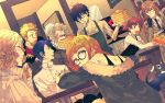 4boys 4girls absurdres akechi_gorou amamiya_ren apron bare_shoulders black_hair blonde_hair blue_eyes blue_hair blush brown_hair cafe cat closed_eyes closed_mouth coffee drooling everyone food formal glasses gloves highres jacket kitagawa_yuusuke long_hair looking_at_viewer machixy morgana_(persona_5) multiple_boys multiple_girls necktie niijima_makoto okumura_haru open_eyes open_mouth pancake persona persona_5 red_eyes sakamoto_ryuuji sakura_futaba serving short_hair sipping smile suit surprised takamaki_anne waiter waitress wide-eyed