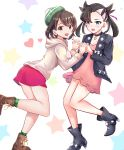 2girls absurdres aqua_eyes asymmetrical_bangs asymmetrical_hair bangs black_hair black_jacket black_nails blush bob_cut breasts brown_eyes brown_hair cardigan choker commentary dress earrings green_headwear grey_cardigan hair_ribbon heart highres holding_hands interlocked_fingers jacket jewelry long_sleeves looking_at_viewer mary_(pokemon) multiple_girls open_clothes open_mouth oramikainu pink_dress pokemon pokemon_(game) pokemon_swsh red_ribbon ribbon short_hair small_breasts smile star tam_o'_shanter twintails yuuri_(pokemon)