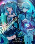 1boy 1girl ahoge bangs black_legwear black_skirt black_sleeves blue_eyes blue_hair blue_jacket character_name closed_mouth copyright_name cowboy_shot dated detached_sleeves dress_shirt eyebrows_visible_through_hair floating_hair frilled_shirt frills grey_shirt hair_ornament hatsune_miku headset jacket long_hair long_sleeves looking_at_viewer microphone mikleo_(tales) miniskirt monicanc open_mouth outstretched_arm pants pleated_skirt shiny shiny_hair shirt silver_hair skirt sleeveless sleeveless_shirt smile split_screen swept_bangs tales_of_(series) tales_of_zestiria tears thigh-highs twintails very_long_hair vocaloid white_pants zettai_ryouiki