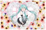 1girl agonasubi aqua_hair aqua_nails aqua_neckwear aqua_rose bare_shoulders black_legwear black_skirt black_sleeves blue_flower blush closed_eyes commentary cowboy_shot cropped_legs detached_sleeves floral_background flower hair_ornament hatsune_miku hatsune_miku_(vocaloid4) headphones headset heart highres leaf lily_(flower) long_hair miniskirt musical_note nail_polish necktie open_mouth paper pink_flower pink_rose pleated_skirt rose see-through see-through_sleeves shirt shoulder_tattoo skirt sleeveless sleeveless_shirt smile solo staff_(music) sunflower tattoo thigh-highs twintails v v4x very_long_hair vocaloid white_flower white_lily white_shirt yellow_flower yellow_rose