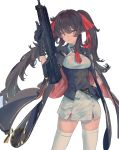 1girl absurdres assault_rifle bangs belt black_gloves black_hair blush breasts cape double-breasted girls_frontline gloves gun hair_ribbon highres holding holding_gun holding_weapon kazukingu long_hair orange_eyes qbz-97 qbz-97_(girls_frontline) red_neckwear red_ribbon ribbon rifle sidelocks simple_background skirt smile solo thigh-highs twintails very_long_hair weapon white_background white_legwear white_skirt