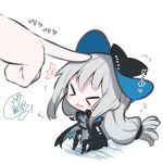 >_< 1girl arknights beni_shake blush_stickers chibi dress flying_sweatdrops gloves hat index_finger_raised long_hair low_tied_hair poking signature skadi_(arknights) translated wavy_mouth white_background