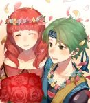 1boy 1girl alm_(fire_emblem) celica_(fire_emblem) closed_eyes closed_mouth fire_emblem fire_emblem_echoes:_shadows_of_valentia fire_emblem_heroes flower green_eyes green_hair haru_(nakajou-28) head_wreath headband highres long_hair open_mouth petals redhead short_hair simple_background smile upper_body white_background