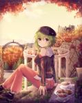 1girl arch autumn autumn_leaves belt black_shirt black_tea blueberry cabbie_hat castle commentary cup food fruit green_eyes green_hair gumi hat highres leaf light_blush looking_at_viewer looking_to_the_side maple_leaf off-shoulder_shirt off_shoulder outdoors pants pink_pants plate raspberry sakakidani shirt shoes sitting smile sneakers solo stairs tea teacup tree vocaloid waffle
