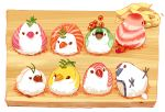 6+others artist_name bird board chai commentary_request fish food ginger highres ikura_(food) leaf looking_at_another looking_at_viewer lying multiple_others no_humans original roe sitting sushi