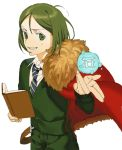 1boy bob_cut book cape fate/zero fate_(series) fur-trimmed_cape fur_trim green_eyes green_hair green_shirt grin holding holding_book male_focus necktie red_cape shirt shouno smile solo sweater waver_velvet