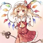 1girl blonde_hair bow commentary_request crystal fang flandre_scarlet frilled_skirt frills gradient gradient_background hand_up hat hat_bow holding laevatein long_hair looking_at_viewer mob_cap open_mouth partial_commentary pleated_skirt raka_(cafe_latte_l) red_bow red_eyes red_skirt red_vest shirt short_sleeves side_ponytail skirt smile solo touhou upper_body vest white_headwear white_shirt wings yellow_neckwear