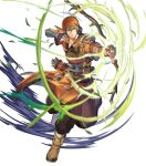 1boy arrow bandages bandana belt boots bow_(weapon) earrings fingerless_gloves fire_emblem fire_emblem:_the_blazing_blade fire_emblem_heroes full_body fur_trim gloves green_eyes green_hair highres jewelry leaf male_focus official_art quiver rath_(fire_emblem) solo teeth transparent_background weapon