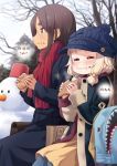 2girls ahagon_umiko black_coat blonde_hair blue_headwear blue_legwear blurry blurry_background brown_hair character_name closed_eyes closed_mouth dress eating food green_eyes highres holding holding_food long_hair multiple_girls new_game! outdoors red_scarf sakura_nene scarf shiny shiny_hair short_dress short_hair sitting snowman straight_hair tokunou_shoutarou winter yellow_dress