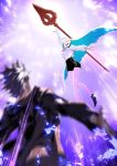 1boy 1girl blurry_foreground blush brynhildr_(fate) chocolate couple fate/grand_order fate_(series) glowing glowing_weapon highres long_hair miwa_shirou outstretched_arms polearm sigurd_(fate/grand_order) spear valentine weapon