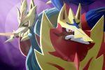 dog_focus face gen_8_pokemon legendary_pokemon mouth_hold no_humans pokemon pokemon_(creature) purple_background red_eyes sucki-artist zacian zamazenta