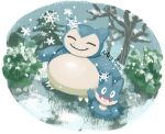 artsy-theo bare_tree claws facing_viewer fangs full_body gen_1_pokemon gen_4_pokemon looking_at_viewer munchlax no_humans outdoors pokemon pokemon_(creature) smile snorlax snow snowflakes snowing standing tree