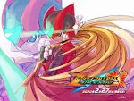 1boy android black_eyes blonde_hair cape cape_removed energy_blade energy_sword helmet holding holding_cape holding_weapon kamiyama_teten long_hair male_focus rockman rockman_zero serious solo sword weapon zero_(rockman) zoom_layer