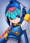 1girl android arm_up armpits blue_eyes bodysuit breasts capcom detached_sleeves gradient gradient_background helmet highres leviathan_(rockman) looking_at_viewer rockman rockman_zero simple_background smile solo tesshii_(riza4828) upper_body