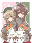 .live 2girls back-to-back blush brown_hair cosplay crossover gen_8_pokemon hair_ornament highres jacket long_hair mikuru_ism multiple_girls namesake natori_sana pokemon pokemon_(creature) pokemon_(game) red_eyes sana_channel scorbunny simple_background smile virtual_youtuber yaezawa_natori
