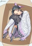 1girl absurdres animal_print black_hair box bug butterfly_hair_ornament butterfly_print hair_ornament highres in_box in_container insect kimetsu_no_yaiba kochou_shinobu konishi_(565112307) looking_at_viewer purple_butterfly short_hair