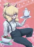 1girl :d alpaca_ears alpaca_suri_(kemono_friends) alternate_costume animal_ear_fluff animal_ears bangs blonde_hair blue_eyes carrying collared_shirt commentary_request cup drink hand_up high-waist_pants highres kemono_friends knee_up kotobukkii_(yt_lvlv) long_sleeves looking_at_viewer medium_hair open_mouth pants parted_bangs saucer shirt smile socks solo suspenders tea teacup teapot tray