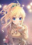 1girl bag bekkourico blonde_hair blue_eyes blush breasts coat hair_ornament hair_scrunchie hand_to_own_mouth idolmaster idolmaster_cinderella_girls long_hair looking_at_viewer ootsuki_yui scrunchie shoulder_bag skirt solo