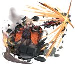 1girl ammunition animal_ears belt blonde_hair boots bow breasts coat collar concept_art english_commentary explosion eyebrows_visible_through_hair fingerless_gloves fox_ears fox_tail full_body gloves hair_bow highres holding holding_weapon leg_up long_coat long_hair medium_breasts miniskirt necktie off_shoulder open_clothes open_coat open_mouth orange_coat original pantyhose polearm pouch rainmood red_bow red_collar red_eyes red_neckwear rubble simple_background skirt smile smoke solo split_ponytail tail very_long_hair weapon white_background