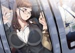 1girl against_glass bag bangs blush breast_press breasts breasts_on_glass brown_hair business_suit formal glasses ground_vehicle hand_on_glass large_breasts long_hair office_lady open_mouth original samemanma shoulder_bag solo_focus suit train violet_eyes