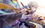 1boy army blue_eyes chinese_armor chinese_clothes csyko fate/grand_order fate_(series) gao_changgong_(fate) grey_hair hair_between_eyes jian_(weapon) male_focus mask mask_removed reverse_grip sheath silver_hair solo sword weapon