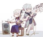 2boys chibi chinese_clothes closed_eyes csyko erhu fang fate/grand_order fate_(series) gao_changgong_(fate) grey_hair hair_between_eyes instrument kadoc_zemlupus male_focus microphone multiple_boys music no_mask playing_instrument silver_hair singing sitting turtleneck wavy_hair