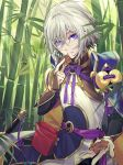 1boy bag bamboo bamboo_forest blue_eyes chinese_armor chinese_clothes csyko fate/grand_order fate_(series) forest gao_changgong_(fate) gift hair_between_eyes holding holding_gift looking_at_viewer male_focus nature offering short_hair silver_hair solo valentine