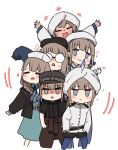 +++ 6+others :d =_= bangs beret black_headwear black_jacket black_shirt black_shorts blue_eyes blue_hair blue_legwear blush brown_hair brown_pants captain_nemo_(fate/grand_order) chibi closed_eyes closed_mouth collared_shirt dress eyebrows_visible_through_hair fate/grand_order fate_(series) glasses gradient_hair green_dress hat heart i.u.y jacket legwear_under_shorts long_hair long_sleeves low_twintails multicolored_hair multiple_others opaque_glasses open_clothes open_jacket open_mouth other_focus pants pantyhose peaked_cap round_eyewear shirt short_shorts short_sleeves shorts sleeves_past_wrists smile striped striped_shirt sweat turban twintails vertical-striped_shirt vertical_stripes very_long_hair wavy_mouth white_headwear white_jacket white_shirt