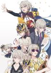 6+boys bare_chest blue_eyes chibi csyko fate/grand_order fate_(series) flying_sweatdrops formal gao_changgong_(fate) gift grey_hair hair_between_eyes hawaiian_shirt highres holding holding_gift instrument male_focus mask multiple_boys multiple_persona necktie outstretched_arm reaching_out reading shirt short_hair short_ponytail silver_hair sparkle suit sunglasses ukulele