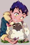 1boy :3 beige_background blue_hair blush crazy_eyes dark_skin dark_skinned_male fur-trimmed_jacket fur_trim g6_(jiiroku) gen_8_pokemon grin highres hop_(pokemon) jacket pokemon pokemon_(creature) pokemon_(game) pokemon_swsh simple_background smile wooloo yellow_eyes