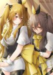 2girls :s alternate_costume asymmetrical_legwear back_bow background_text bangs belt black_coat black_legwear black_ribbon blush bow bowtie brown_eyes brown_hair chain clenched_hand closed_mouth collar commentary_request cowboy_shot curtains embarrassed eyebrows_visible_through_hair eyelashes frilled_shirt frills girls_frontline green_pupils grey_hair hair_ornament hair_ribbon hairclip helping highres holding holding_bow huge_bow idol leaning_forward long_hair looking_at_another looking_at_object monokuro_(sekahate) multiple_bows multiple_girls pantyhose ponytail ribbon scar scar_across_eye shiny shiny_hair shirt short_shorts short_sleeves shorts side_ponytail sidelocks smile standing star tagme thigh_strap twintails twitter_username two-tone_ribbon ump45_(girls_frontline) ump9_(girls_frontline) waistcoat white_shirt white_shorts white_wrist_cuffs wrist_cuffs yellow_belt yellow_bow yellow_eyes yellow_neckwear yellow_ribbon
