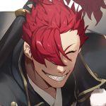 1boy bangs close-up face fate_(series) hair_over_one_eye highres japanese_clothes kimono koha-ace long_hair long_sleeves mori_nagayoshi_(fate) no-kan open_mouth ponytail redhead sharp_teeth shirt smile teeth upper_body weapon