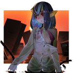 1girl bare_shoulders blue_hair blue_submarine_no_6 blush breasts building collared_shirt cowboy_shot evening han-0v0 highres looking_to_the_side medium_hair monster_girl mutio nose_blush off_shoulder orange_sky pointy_ears red_eyes ripples ruins see-through shirt silhouette sky sleeves_past_wrists small_breasts solo sunset thigh_gap wading wet wet_clothes white_shirt